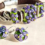 """Украшения ручной работы. Ярмарка Мастеров - ручная работа """"Фиалки"""": браслет регализ и серьги лэмпворк. Handmade."""