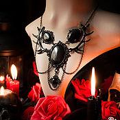 """Фен-шуй и эзотерика ручной работы. Ярмарка Мастеров - ручная работа Черное колье """"Elhaz"""" с рогами, готическое колье. Handmade."""