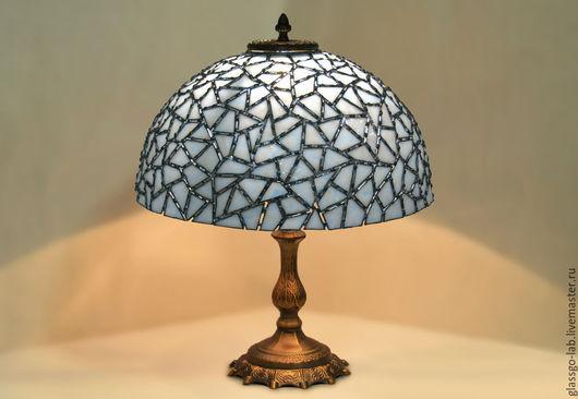 Настольная лампа Тиффани `Льдинки`, стекло, D- 40 см, 340 детали.