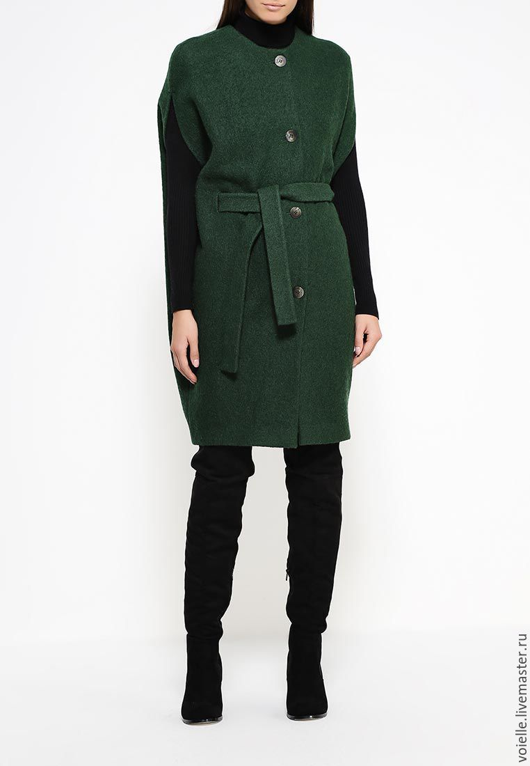 Cape of loden clothes from the wool of dark green, Cape, cocoon silhouette, convenient and necessary thing in the wardrobe, looks great with knitwear and leggings or tight trousers.