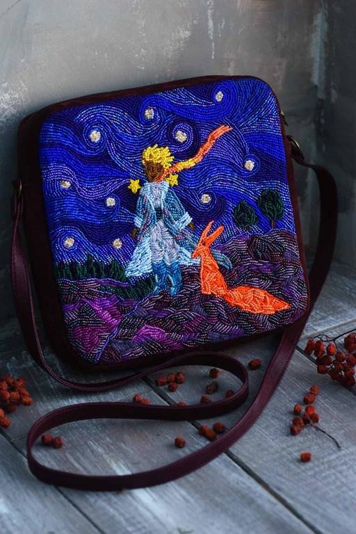 """Женские сумки ручной работы. Ярмарка Мастеров - ручная работа. Купить """"Маленький принц"""", сумка из замши, вышивка бисером.. Handmade."""