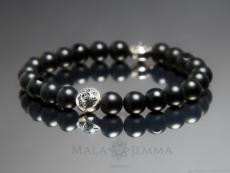 Men's Stylish bracelet made of black Onyx and 925 sterling silver, Bead bracelet, Magnitogorsk,  Фото №1