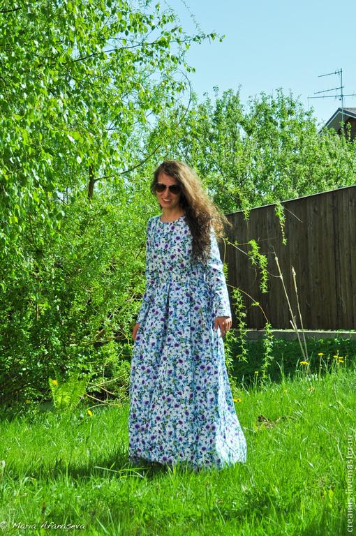 Платья ручной работы. Ярмарка Мастеров - ручная работа. Купить Платье в пол из хлопка. Handmade. Цветочный, красивое платье