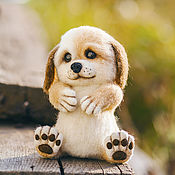 Куклы и игрушки ручной работы. Ярмарка Мастеров - ручная работа Валяная игрушка из шерсти, щенок Ванечка. Handmade.