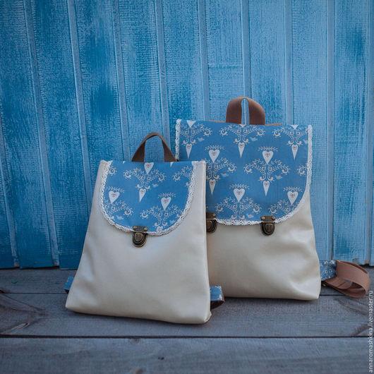 Рюкзаки ручной работы. Ярмарка Мастеров - ручная работа. Купить Рюкзаки для мамы и ребенка. Handmade. Синий, рюкзак для девочки, зима