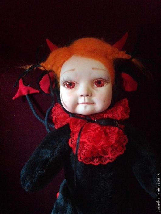 Коллекционные куклы ручной работы. Ярмарка Мастеров - ручная работа. Купить Тедди долл  Мелани-чертенок. Handmade. Ярко-красный