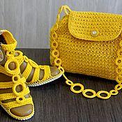 """Обувь ручной работы. Ярмарка Мастеров - ручная работа Вязаный комплект босоножки + сумочка """"Солнечное утро"""". Handmade."""