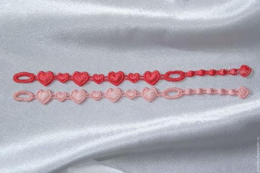 Браслеты ручной работы. Ярмарка Мастеров - ручная работа. Купить браслеты вышитые Любимое Сердце набор 2шт. ажурная вышивка. Handmade.