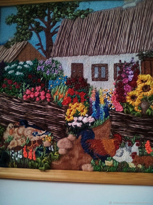 Картина вышитая лентами и гладью Домик окнами в сад .Авторская работа, Картины, Матвеев Курган,  Фото №1