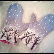 Аксессуары ручной работы. Ярмарка Мастеров - ручная работа варежки Снегири. Handmade.