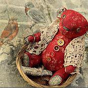 Куклы и игрушки ручной работы. Ярмарка Мастеров - ручная работа Марта мишка тедди красный бордо крестьянка коллекция купить. Handmade.