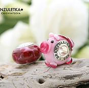 Материалы для творчества handmade. Livemaster - original item Piggy - set 2 pc European Beads lampwork pink - Charm large hole. Handmade.