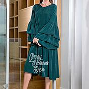 Одежда ручной работы. Ярмарка Мастеров - ручная работа Зеленое макси осеннее повседневное платье с оборкой и длинным рукавом. Handmade.