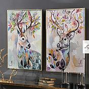 Картины и панно handmade. Livemaster - original item Paired paintings of Deer. Handmade.