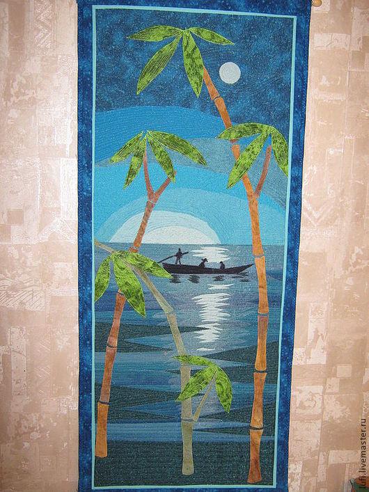 Пейзаж ручной работы. Ярмарка Мастеров - ручная работа. Купить Бамбук. Handmade. Синий, гребцы луна, отражение в воде, органза