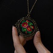 Украшения handmade. Livemaster - original item Round pendant with handmade embroidery. Handmade.