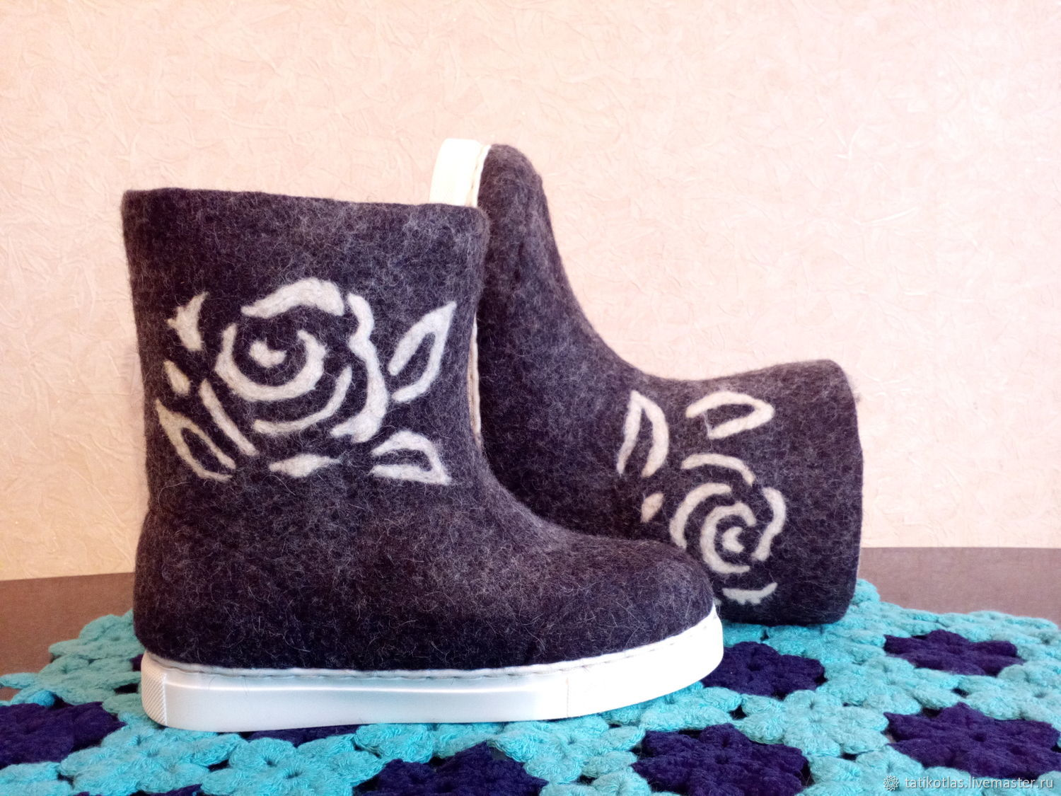 Boots-boots are handmade on the sole, Ankle boot, Kotlas,  Фото №1