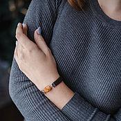handmade. Livemaster - original item Narrow bracelet made of leather and stones. Handmade.