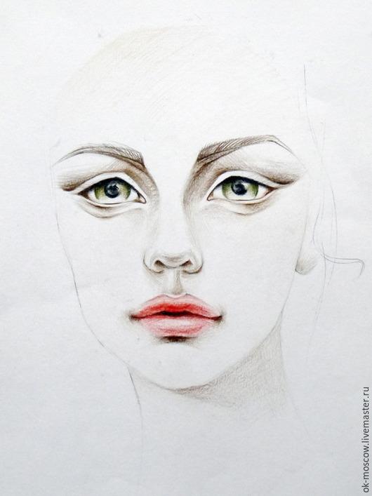 Люди, ручной работы. Ярмарка Мастеров - ручная работа. Купить Картина. Девушка. Handmade. Разноцветный, цветные карандаши, акварельные карандаши