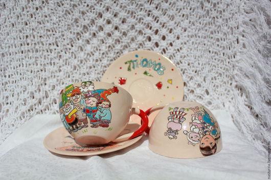 Сервизы, чайные пары ручной работы. Ярмарка Мастеров - ручная работа. Купить Чайные пары Мультяшки керамика. Handmade. Белый