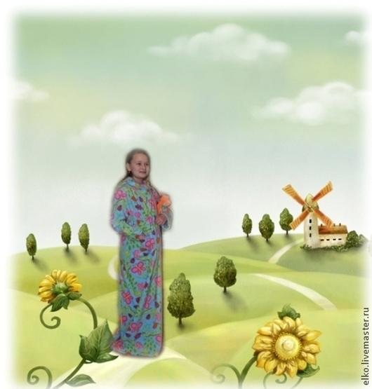 """Одежда для девочек, ручной работы. Ярмарка Мастеров - ручная работа. Купить Уютный, теплый халатик для девочки """"В стране дремучих трав"""". Handmade."""