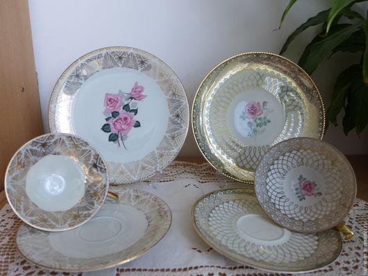 Винтажная посуда. Ярмарка Мастеров - ручная работа. Купить Аукцион Две чайных троечки «Великолепная роза», фарфор,Германия. Handmade.