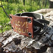 Украшения handmade. Livemaster - original item A leather bracelet I love you. Handmade.