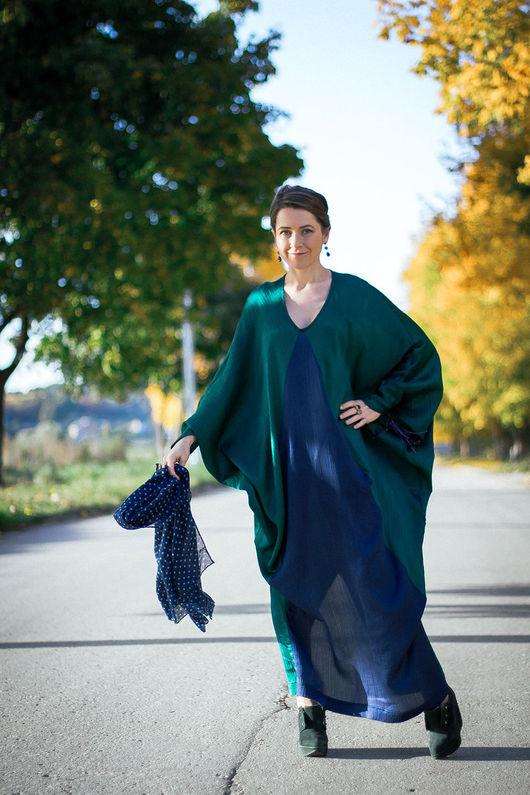 Платья ручной работы. Ярмарка Мастеров - ручная работа. Купить Фэй Рэй - платье оригинального кроя. Handmade. Тёмно-зелёный