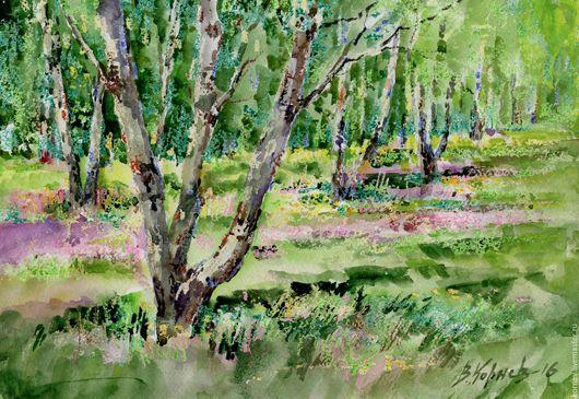 Пейзаж ручной работы. Ярмарка Мастеров - ручная работа. Купить Начало июня.. Handmade. Березы, трава, цветы, солнечный день