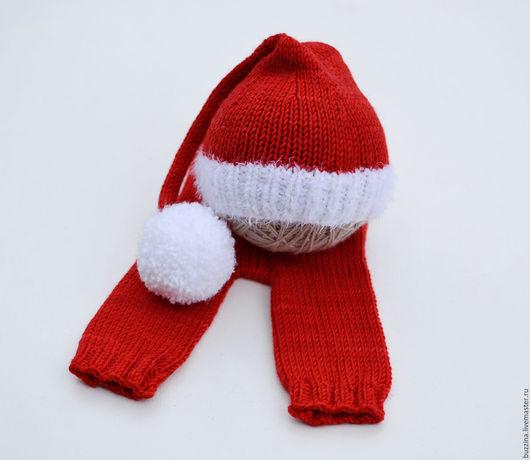 Для новорожденных, ручной работы. Ярмарка Мастеров - ручная работа. Купить Шапка Санты + штанишки для фотосессии новорожденных. Handmade.