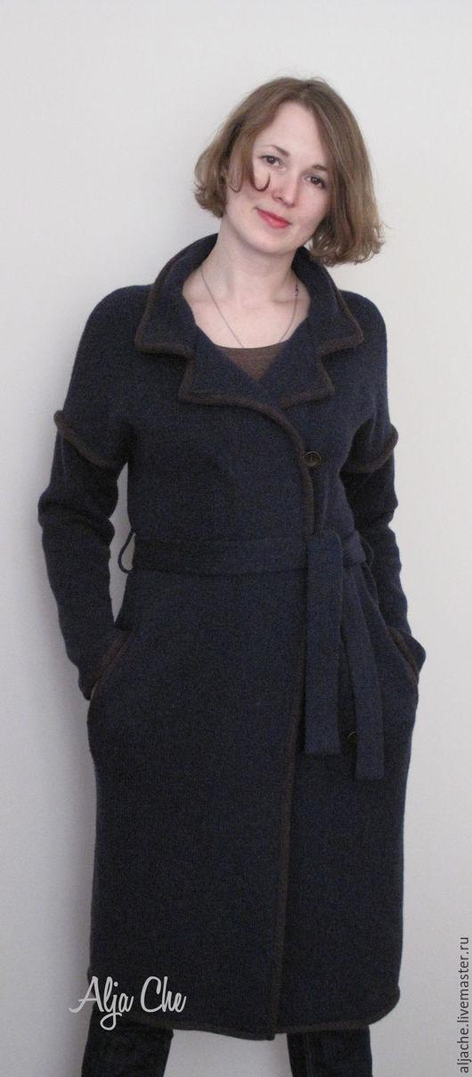 Верхняя одежда ручной работы. Ярмарка Мастеров - ручная работа. Купить пальто из шерсти верблюжонка. Handmade. Тёмно-синий