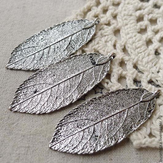 Для украшений ручной работы. Ярмарка Мастеров - ручная работа. Купить Подвеска Листик №23, античное серебро (1шт). Handmade.