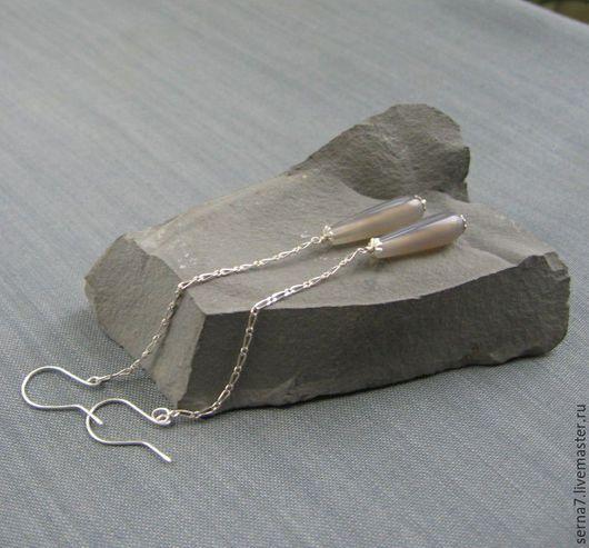 """Серьги ручной работы. Ярмарка Мастеров - ручная работа. Купить Серьги """"Gray pendulum"""". Handmade. Серебро 925 пробы"""