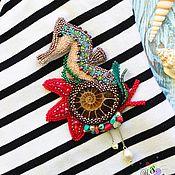 """Украшения ручной работы. Ярмарка Мастеров - ручная работа Брошь """"Морской конёк"""". Handmade."""