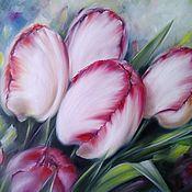 Картины и панно handmade. Livemaster - original item Oil painting Bright tulips. Handmade.