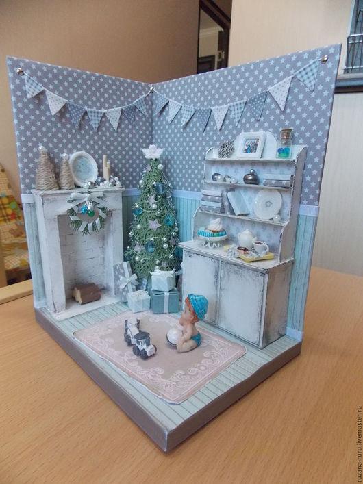 """Кукольный дом ручной работы. Ярмарка Мастеров - ручная работа. Купить Румбокс """" Новый Год"""". Handmade. Синий"""