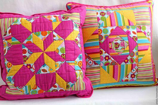 Текстиль, ковры ручной работы. Ярмарка Мастеров - ручная работа. Купить Подушки интерьерные, печворк, «Сладкая парочка». Handmade. розовый