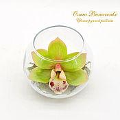 Цветы и флористика ручной работы. Ярмарка Мастеров - ручная работа Зеленая орхидея цимбидиум в вазочке. Handmade.