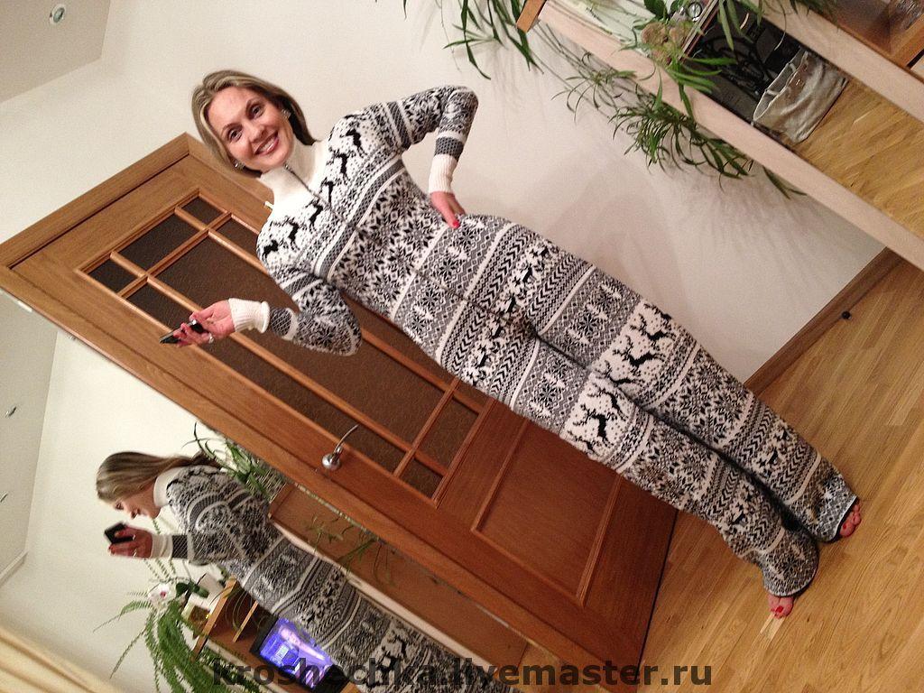 Jumpsuits handmade. Livemaster - handmade. Buy Knitted woolen jumpsuit 'Merry reindeer'.Winter, winter clothes, Norwegian pattern, viscose