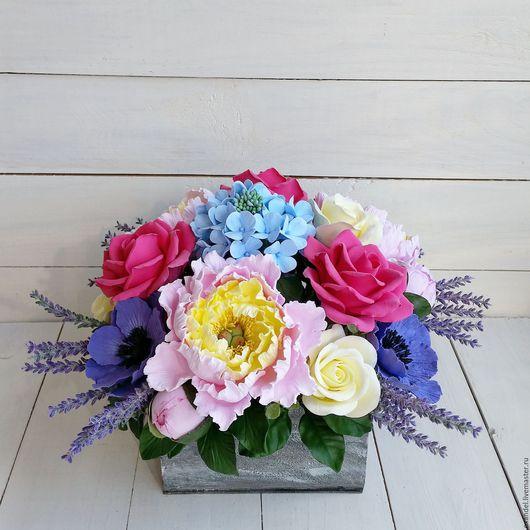 Букеты ручной работы. Ярмарка Мастеров - ручная работа. Купить Букет с пионами, анемонами, розами и гортензией. Handmade. гортензия