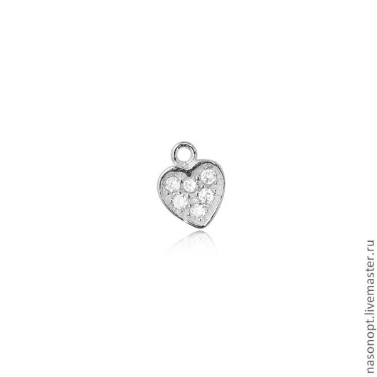 Вставка для украшений в форме сердца с цирконами