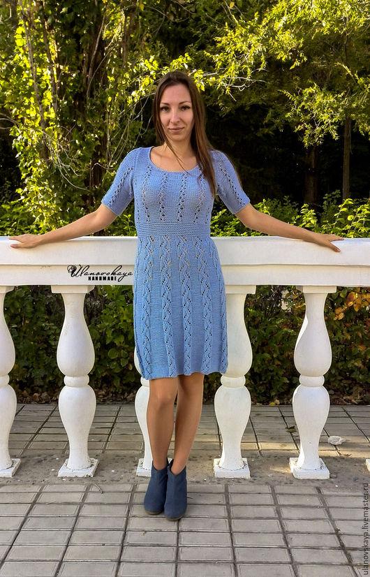 """Платья ручной работы. Ярмарка Мастеров - ручная работа. Купить """"Serenity"""" - платье спицами. Handmade. Голубой, хлопок"""