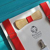 Аксессуары ручной работы. Ярмарка Мастеров - ручная работа Деревянная бабочка галстук узкая + ярко красные подтяжки. Handmade.