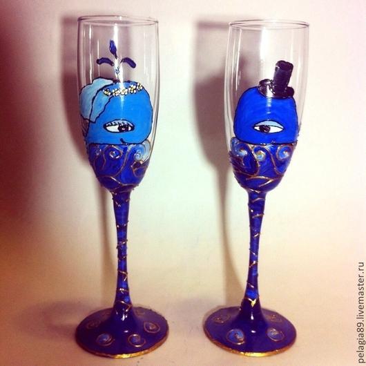 """Бокалы, стаканы ручной работы. Ярмарка Мастеров - ручная работа. Купить Свадебные бокалы """"Киты"""". Handmade. Свадьба, Бокалы"""