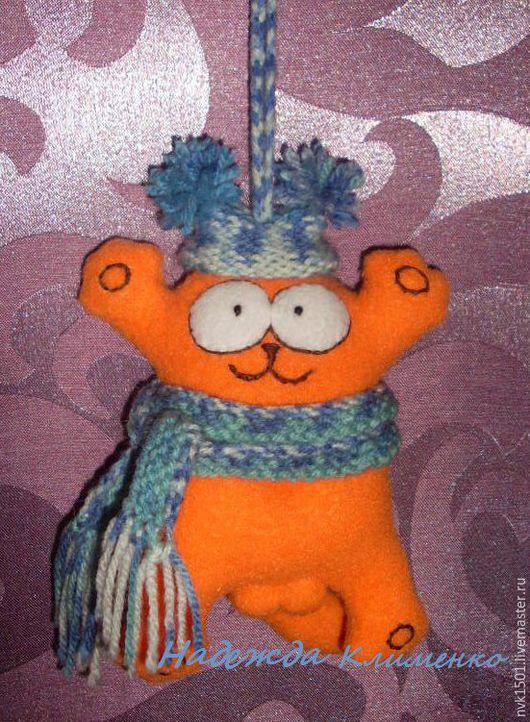 Игрушки животные, ручной работы. Ярмарка Мастеров - ручная работа. Купить Кот Саймона на шнурке. Handmade. Комбинированный, для автомобиля, из флиса