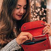 """Кошельки ручной работы. Ярмарка Мастеров - ручная работа Кожаный кошелек """"Воллис"""" красного цвета. Handmade."""