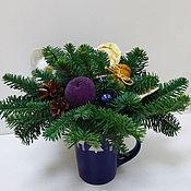 Композиции ручной работы. Ярмарка Мастеров - ручная работа Новогодняя композиция в чашке. Handmade.