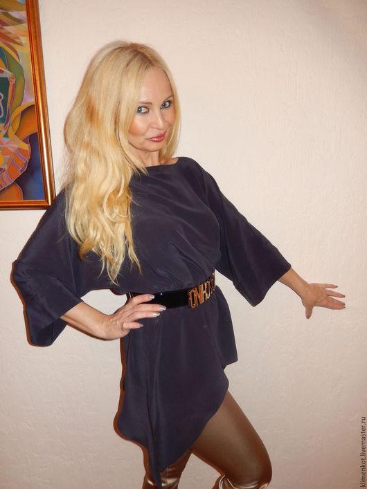 Блузки ручной работы. Ярмарка Мастеров - ручная работа. Купить блуза Глубина 1,. Handmade. Тёмно-синий, женская одежда