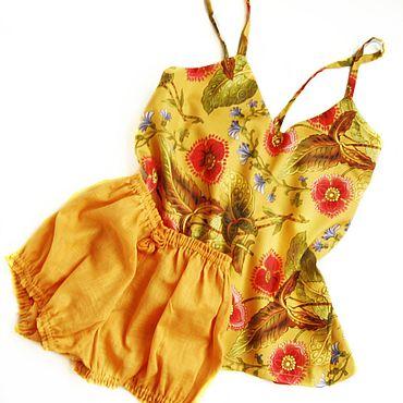 """Одежда ручной работы. Ярмарка Мастеров - ручная работа Пижама женская: """" Аленький цветочек"""" на золоте.. Handmade."""