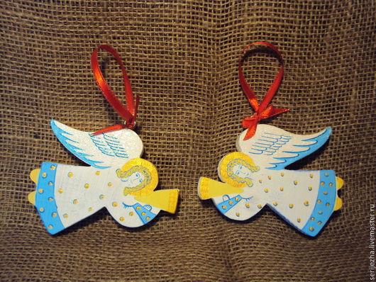 Ангел, деревянная игрушка ручной работы, декорированный